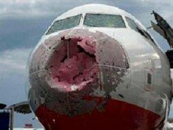 Украинские пилоты вслепую посадили побитый градом авиалайнер
