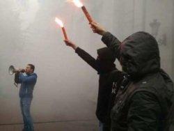 Неонацисты вновь закидали камнями российский культурный центр в Киеве