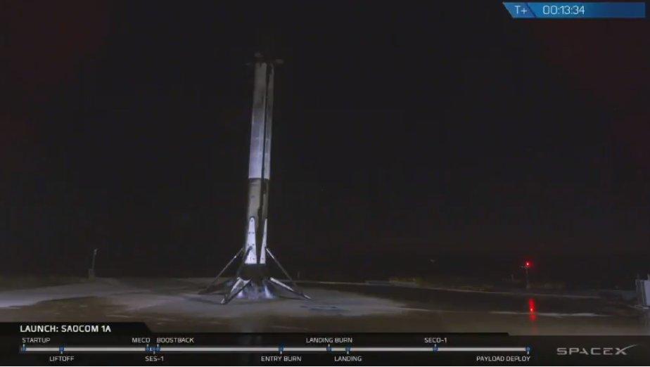 Первая ступень ракеты-носителя Falcon 9 вернулась на космодром