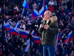 """Путин приехал в """"Лужники"""" на концерт в честь присоединения Крыма"""