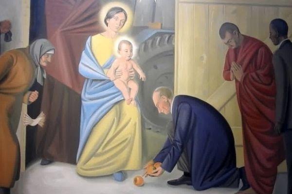 В одном из храмов появились фрески с Путиным